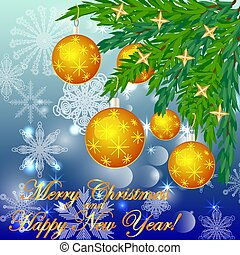A square blue christmas background with snowflakes, coniferous branches, decorated with yellow balls, stars. The inscription Merry Christmas and a Happy New Year