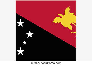 Square Flag Illustration of the country of Papua New Guinea