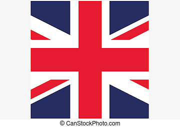 Square Flag Illustration of the country of United Kingdom