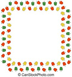 A square frame of bell peppers of red, green and yellow colors on a white background. Place for text. Vector.