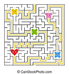 A square labyrinth. Collect all fairy toon and find a way out of the maze. Simple flat isolated vector illustration. With the answer.