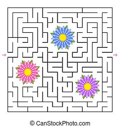 A square labyrinth. Collect all the flowers and find a way out of the maze. Simple flat isolated vector illustration.