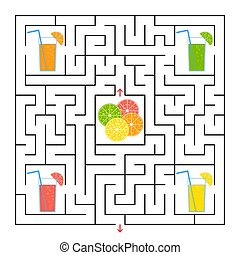 A square labyrinth. Collect all the glasses with juice and find a way out of the maze. Simple flat isolated vector illustration.