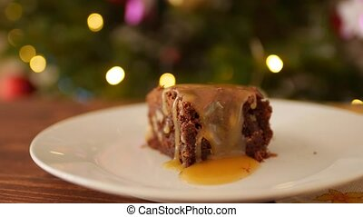 Chocolate Brownie - brown chocolate cake, rectangular slices of chopped chocolate cake. Traditionally for American cuisine.