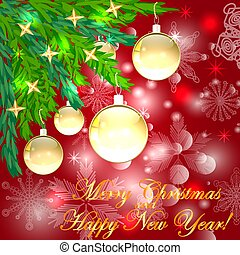 A square red christmas background with snowflakes, coniferous branches decorated with golden balls, stars. The inscription of Merry Christmas and a Happy New Year