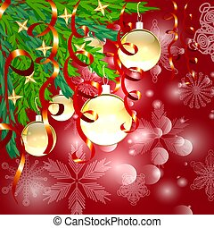 A square red christmas background with snowflakes, coniferous branches decorated with golden balls, stars, ribbons.