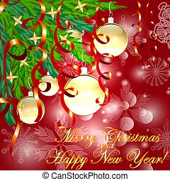 A square red christmas background with snowflakes, coniferous branches decorated with golden balls, stars, ribbons. The inscription of Merry Christmas and a Happy New Year