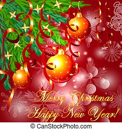 A square red Christmas background with snowflakes, coniferous branches, decorated with red balls, stars, ribbons. The inscription of Merry Christmas and a Happy New Year