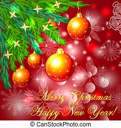 A square red Christmas background with snowflakes, coniferous branches, decorated with red balls, stars. The inscription of Merry Christmas and a Happy New Year
