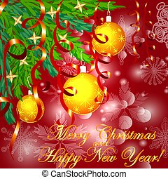 A square red christmas background with snowflakes, coniferous branches, decorated with yellow balls, stars, ribbons. The inscription Merry Christmas and a Happy New Year