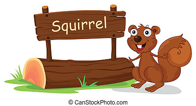 A squirrel beside a wooden signage