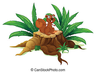 A squirrel on a stump with leaves