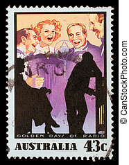 a, stämpel, tryck, in, den, australien, visar, musik, visa, gyllene, dagar, av, radio