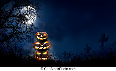 A stack of 3 spooky halloween pumpkin, Jack O Lantern, with an evil face and eyes on the grass in a graveyard with a misty night sky background with a full moon.