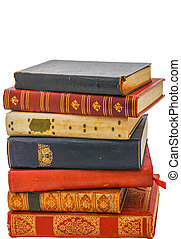 A stack of antique books