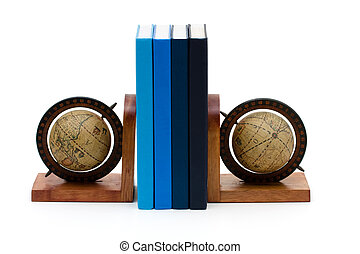 A stack of book between bookends isolated on white, International education