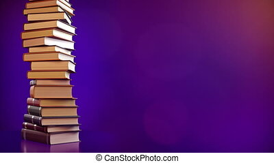 A Stack of books on a blue background.  4k resolution 3D rendering.