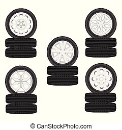 A stack of car tires