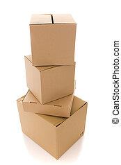 cardboard box parcels - a stack of cardboard box parcels (...