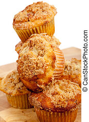 a stack of Cinnamon streusel muffins
