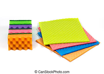 A stack of cleaning sponges, cellulose sponge cloth isolated on the white background