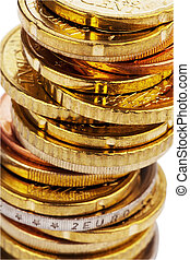 A stack of coins of euro cents. Isolated on white background