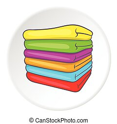 A stack of colored towels icon, cartoon style