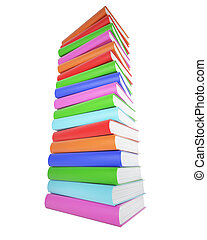 A stack of colorful books isolated on white background.