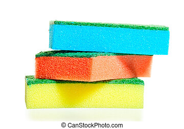 a stack of colorful sponges for ware on a white background