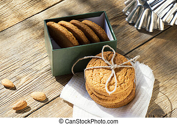a stack of cookies in a box