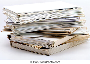 stack of documents - a stack of documents on white ...