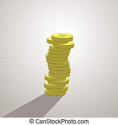 stack of dollar coins. illustration. isolate