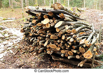a stack of fire wood