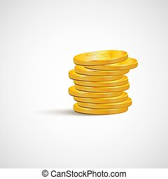 A stack of gold coins isolated on white background