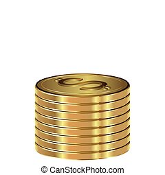 A stack of gold dollars. Vector illustration on a white background.