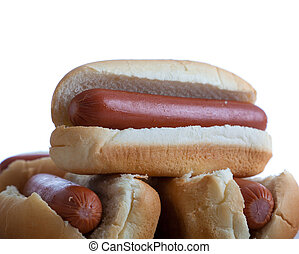 A stack of hotdogs and buns on a white background