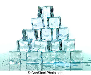 ice cubes - a stack of ice cubes on a white background