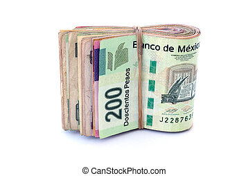 A Stack of Mexican Currency bills