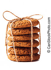 A stack of oatmeal cookies on a white isolated background. Close-up.