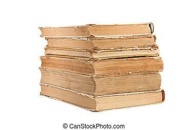 A stack of old books isolated