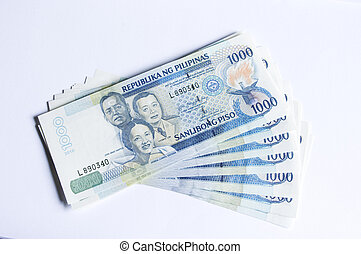 a stack of philippines peso, in one thousand denomination