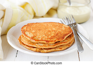 A Stack of Pumpkin Pancakes, copy space for your text
