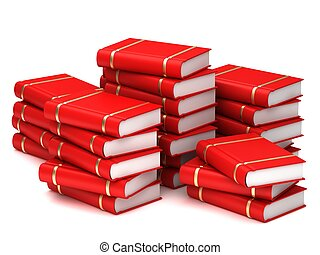 A stack of red books