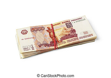 A stack of Russian banknotes tied with a rubber band for money isolated on white