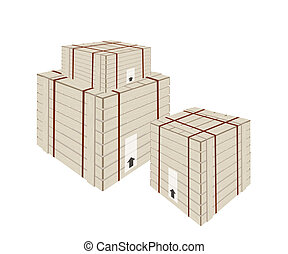 A Stack of Shipping Box with Steel Strapping - An...