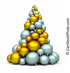 a stack of silver and gold bomblets creating x-mas tree; 3d rendering