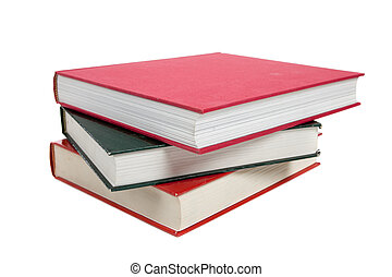 a stack of textbooks on white