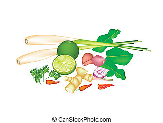 A Stack of Thai Food or Thai Cuisine Ingredient - Vegetable...