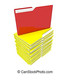 A stack of yellow folder with a red core