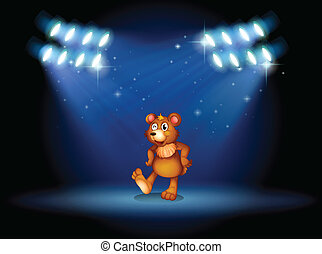 Illustration of a stage with a bear dancing at the center